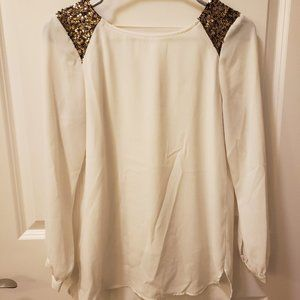 GB Girls White Blouse w/ Sequin Detail
